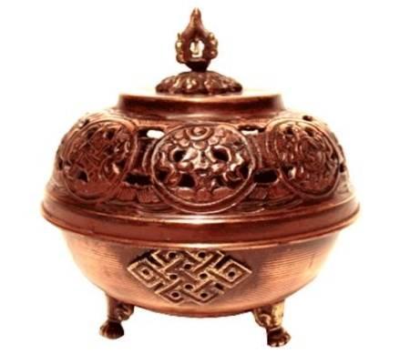 Tibetischer Räucherkessel Metall rund