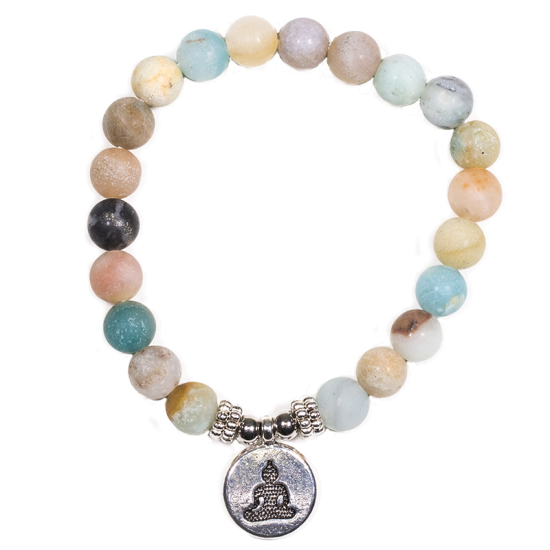 Mala/Armband Amazonit - elastisch - mit Buddha