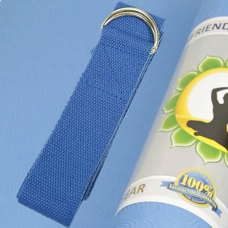 Yogagurt mit D-Ring Schnalle - blau - Baumwolle