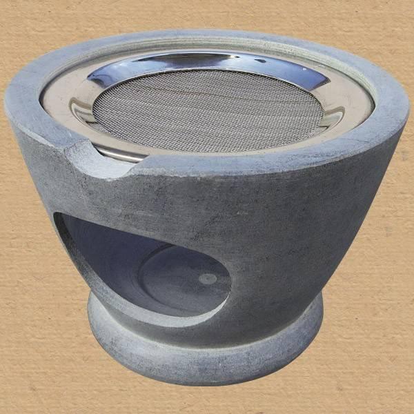 Räuchergefäß Maroque Speckstein grau + Sieb