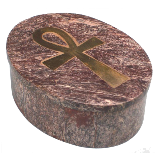 Schmuckdose Ankh - aus Speckstein - oval mit Deckel