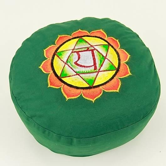 Meditationskissen - Stickerei des 4. Chakras, Anahata - grün