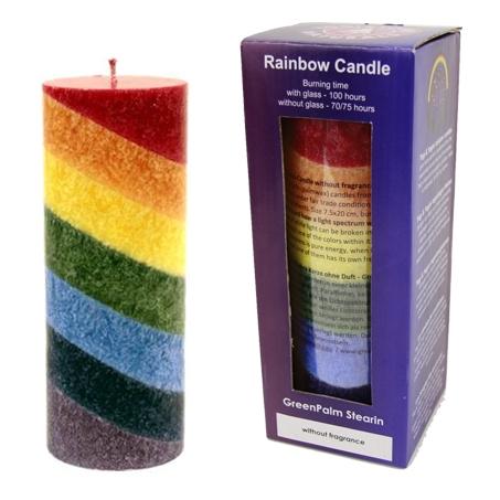 Chakra  Regenbogen Stearinkerze - neutral im Duft