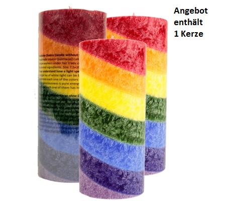 Chakra Regenbogen Duftkerze mit ätherischen Ölen vom Patchouli, Labdanum und Weihrauch