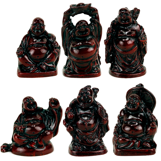 SET: 6 Buddha Statuen rot Polyresin