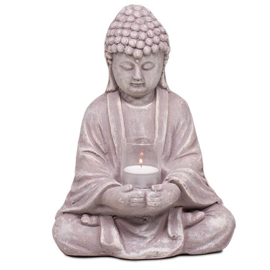 Buddha mit Glas - Zement Größe :     20x14x28 cm Gewicht  :1020 g