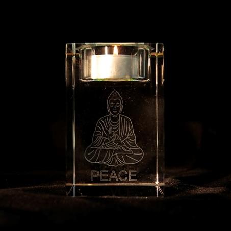 """Kristall-Leuchter Teelichthalter """"Buddha Frieden ''"""
