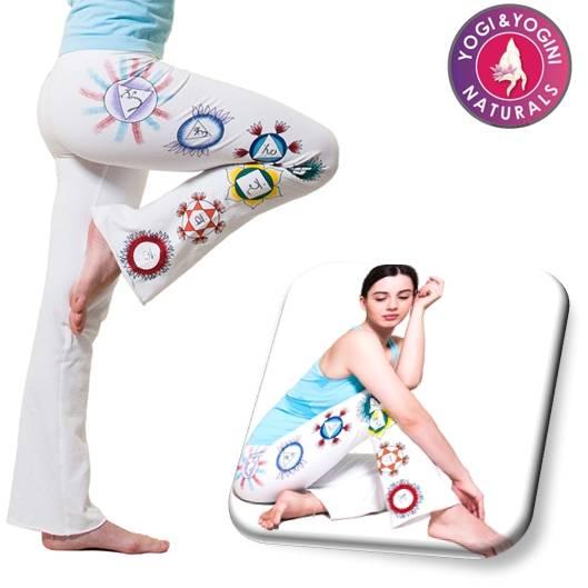 Yoga Baumwollhose mit handgemalten Symbolen der Chakras verschiedene Größen und Farben