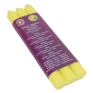 Wachs Duftkerze - 3. Chakra Manipura (gelb) - dünn ( 3er Packung)