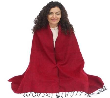Umschlagtuch für die Meditation - 70% Acryl, 30% Baumwolle – Buddhistisches rot