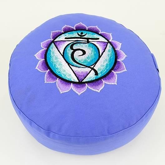 Meditationskissen - Stickerei des 5. Chakras, Vishuddha - blau
