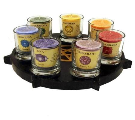 Kerzenhalter SET Pentagramm 7 Kerzen + Gläser