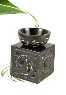Duftlampe schwarzer Speckstein - OHM Symbol
