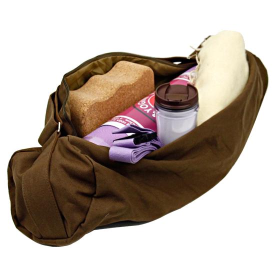 Tasche für Yogamatte braun mit grün-braunem Futter