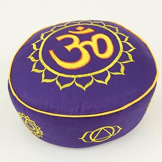 Meditationskissen - 7 Chakren & Ohm - gold & violett