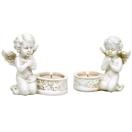 Engelstatue - Betende Cupido mit Kerzenhalter
