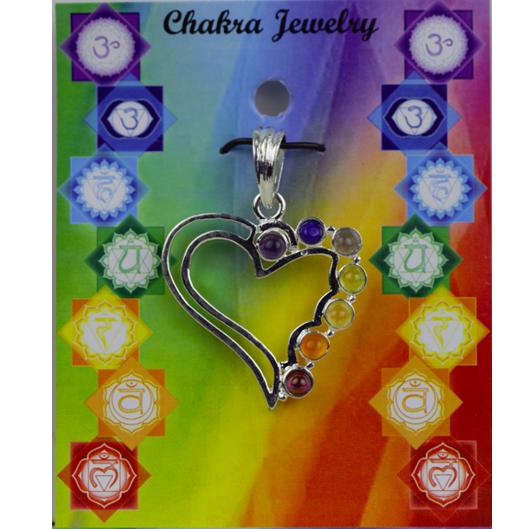 Herz Chakra Anhänger messing versilbert 7 Halbedelsteine