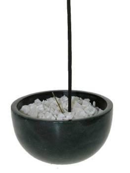 Räuchergefäß Speckstein schwarz + weiße Kieseln