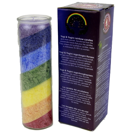 Chakra Regenbogen Stearinkerze - neutral im Duft - mit Glas