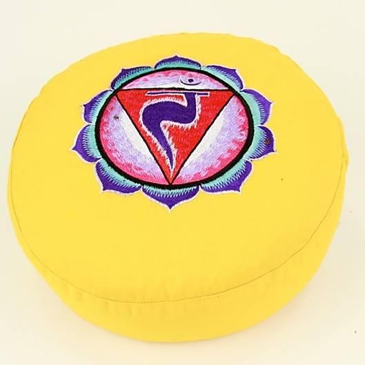 Meditationskissen - Stickerei des 3. Chakra Symbols, Manipura - gelb