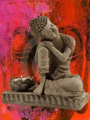 Buddha mit Kerzenhalter steingrau